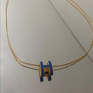 Blue Hermes pop H necklace